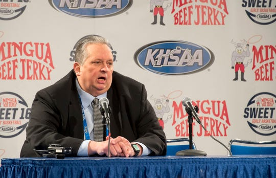 Commissioner Julian Tackett addresses the media after announcing the KHSAA Sweet 16 tournament had been suspended due to concerns of health and safety over the coronavirus at Rupp Arena in Lexington, Ky., Thursday afternoon, March 12, 2020.