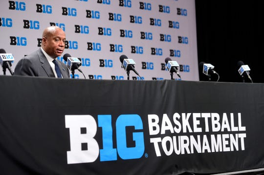 Big Ten commissioner Kevin Warren talks with the media about todays cancellation of the Mens Big Ten Tournament. The Big Ten Conference announced today that it will be cancelling the remainder of the Big Ten Men's Basketball Tournament, effective immediately in regard to the COVID-19 pandemic. at Bankers Life Fieldhouse.