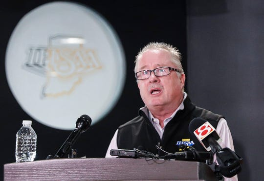 IHSAA commissioner Bobby Cox announces restrictions of fans and precautions leading up to the IHSAA boys state basketball tournament at the official office of the IHSAA on Meridian St., Indianapolis, Thursday, March 12, 2020. Teams participating in the tournament at Bankers Life Fieldhouse will be allowed to have administrators and staff of the teams to attend and only 75 guests of immediate family members.