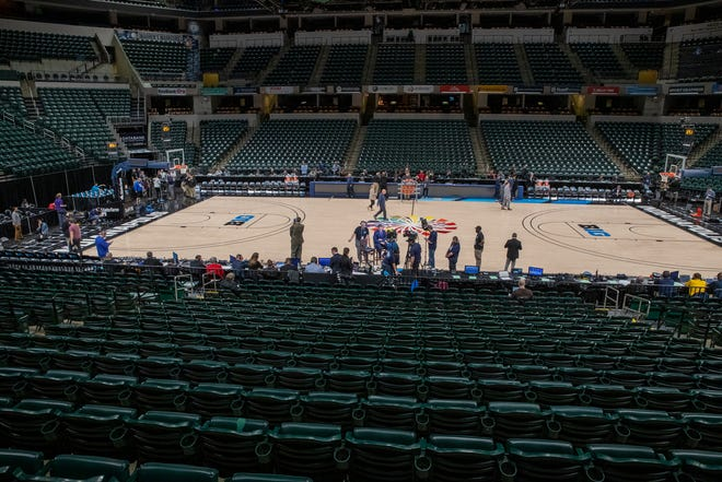 An empty arena, moments after the cancel order was put in to halt the Big Ten Men's Basketball Tournament, Bankers Life Fieldhouse, Indianapolis, Thursday, March 12, 2020. Fears over the virus that causes COVID-19 prompted the decision.