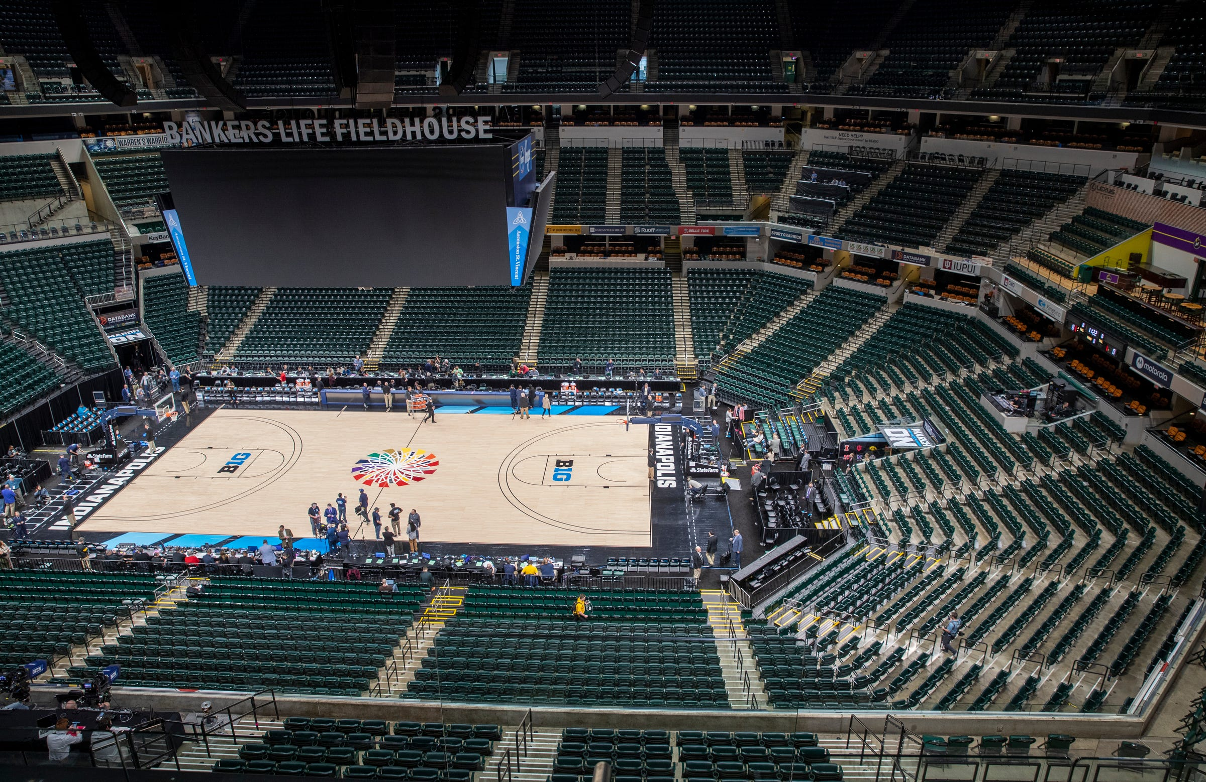 The virtually empty Bankers Life Fieldhouse moments after the remainder of the Big Ten Men's Basketball Tournament was canceled.