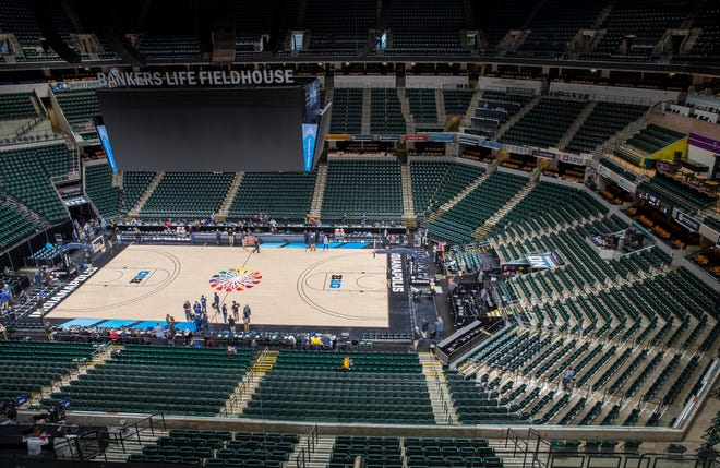 March 12, 2020: An empty arena, moments after a cancel order halted the Big Ten Men's Basketball Tournament at  Bankers Life Fieldhouse.
