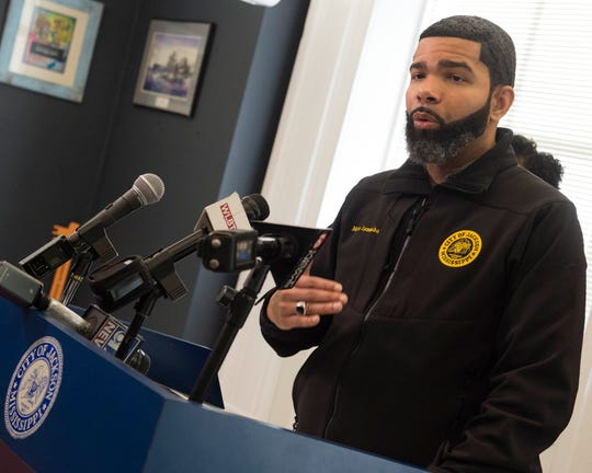 Jackson, Miss. Mayor Chokwe Antar Lumumba talks to members of the press on Thursday to announce the organization of a task force to manage the coronavirus COVID-19 in the metroplex, as well as keep the public abreast of developments. Wednesday, March 12, 2020.