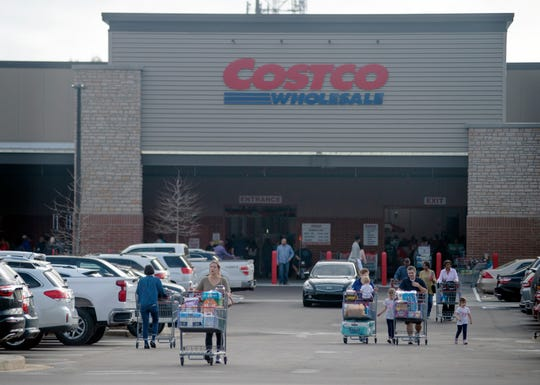 A steady flow of shoppers streams in and out of Costco Wholesale in Ridgeland on opening day Thursday, March 12, 2020. The store, The store, located on Highland Colony Parkway, is thefirstin the state.