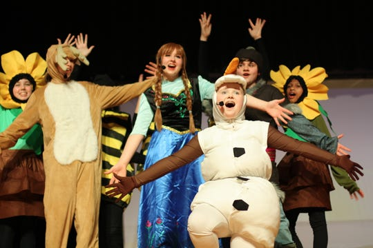 """Annika Kalstrom as Olaf in the South Doyle Middle School production of """"Disney Frozen Jr."""" March 2020"""