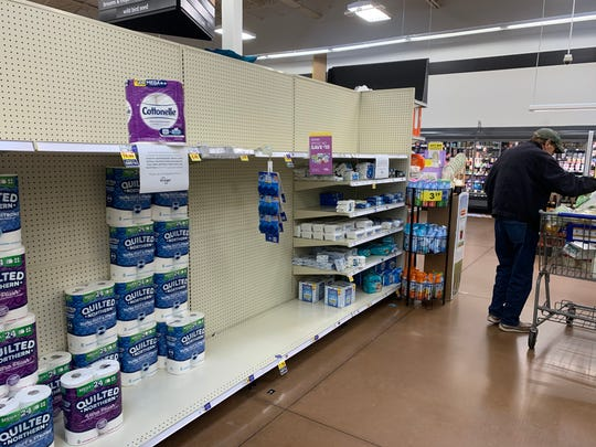 Supplies are dwindling at Kroger in Fountain City on Thursday, March 12, 2020