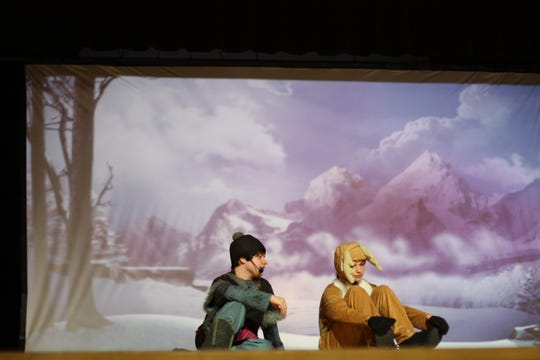 """Jude Straussfogel as Sven, Cole Kragenbrink as Kristoff in """"Disney Frozen Jr."""" at South-Doyle Middle School on March 7, 2020."""