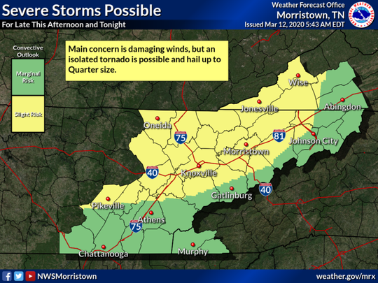 Severe storms are possible late this afternoon and tonight. Damaging winds is the main concern but isolated tornado is possible and hail up to quarter size.