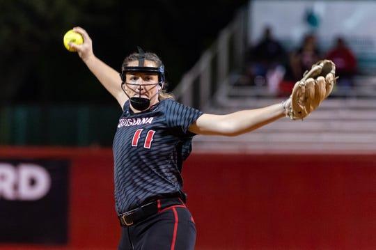 Cajuns pitcher Megan Kleist throws against Sam Houston State on Wednesday at Yvette Girouard Field at Lamson Park.