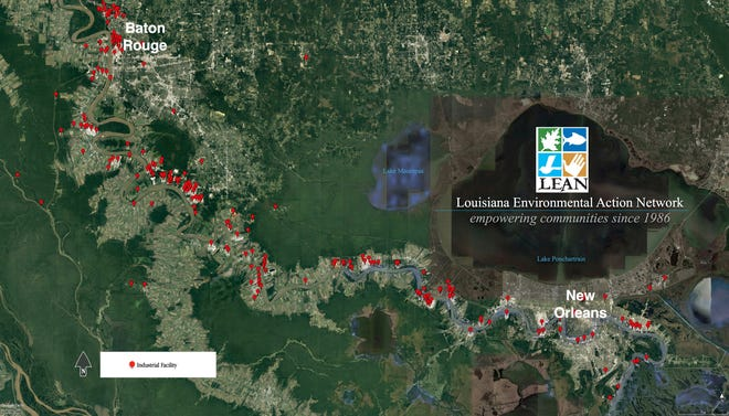 "A map of a region in Louisiana known as ""Cancer Alley,"" an 84-mile, seven-parish  stretch between New Orleans and Baton Rouge with at least 150 petrochemical plants along the Mississippi River. The red dots indicate an industrial facility."