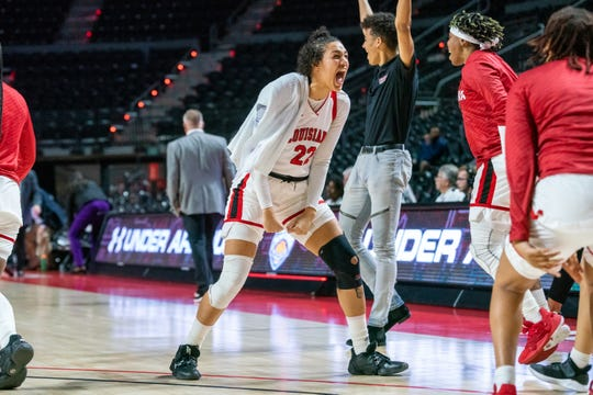 Senior Kendall Bess celebrates UL's Sun Belt Conference Tournament win over Little Rock earlier this month at the Cajundome.