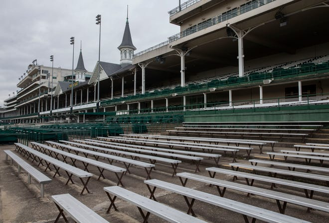 The grandstands Churchill Downs sit empty during non-racing months. March 12, 2020