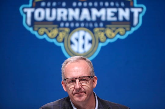 """I've not had a situation as difficult and emotional as this one,"" said SEC Commissioner Greg Sankey after the SEC announced Thursday morning the cancellation  of the 2020 SEC men's college basketball tournament at Bridgestone Arena. The COVID-19 outbreak nationwide has cancelled all conference tournament games. March 12, 2020."
