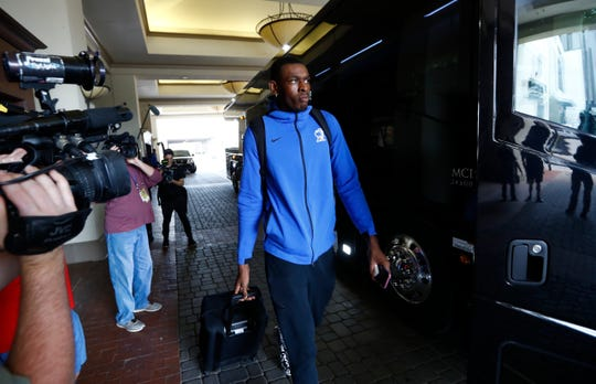 The Memphis Tigers basketball player Lance Thomas prepares to leave the team's hotel in Fort Worth, Texas after AAC officials officially cancelled their conference tournament basketball games following concerns of the COVID-19 pandemic on Thursday, March 12, 2020.