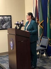 Shelby County Health Department Director Alisa Haushalter speaks at a news conference March 12, 2020, about the second confirmed coronavirus case in Shelby County.
