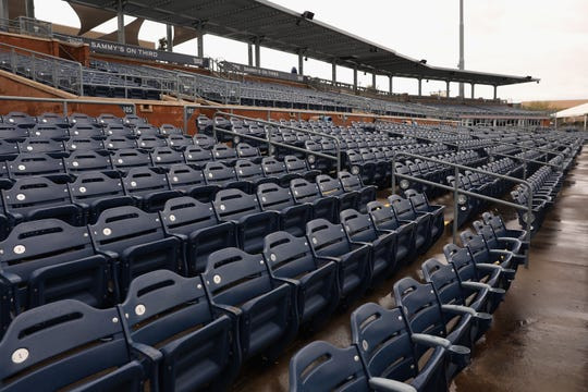 General view of empty seats of Peoria Stadium on March 12, 2020 in Peoria, Arizona. Major League Baseball joined the NBA in suspending all operations due to the coronavirus outbreak.