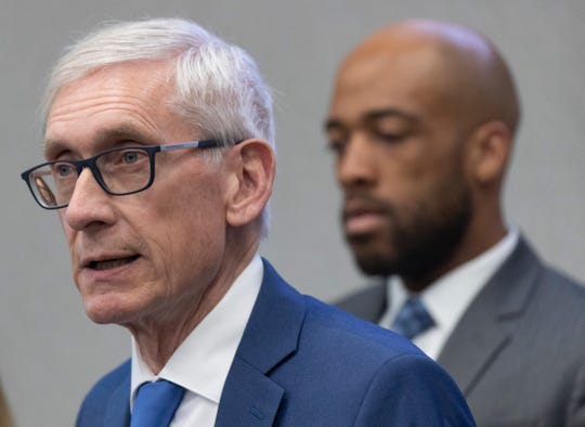 Gov. Tony Evers speaks at a briefing to discuss updates to the state's response to the coronavirus pandemic  at the State Emergency Operations Center in Madison.