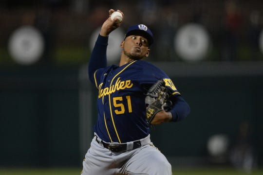Brewers pitcher Freddie Peralta struck out eight hitters over 4 1/3 innings against a loaded Dodgers lineup Wednesday night.