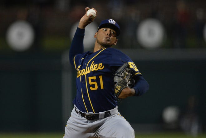 Freddy Peralta landed a five-year, $15.5 million contract extension with the Brewers this spring.