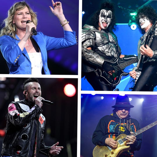 Summerfest reopening its 23,000-person-capacity American Family Insurance Amphitheater in June, following a $53 million upgrade. Eight shows have been booked for after the festival, including (from top left) Sugarland, KISS, Santana and Maroon 5.