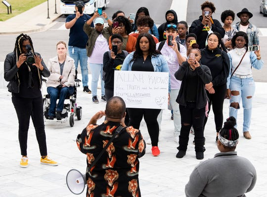 Family and supporters of executed prisoner Nathaniel Woods protest his execution and ask for an apology in Montgomery, Ala., on Wednesday March 11, 2020.