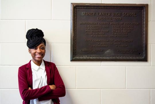 Lanier High School student Jasmine Jackson, who was given a scholarship to Alabama State University, is shown at the Lanier campus in Montgomery, Ala., on Thursday March 12, 2020.
