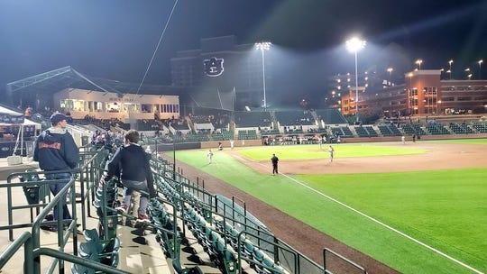 Fans attend an Auburn baseball game at Plainsman Park on March 11, 2020.