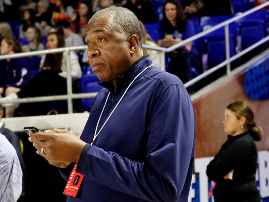 TSSAA executive director Bernard Childress listens as the announcement is made to limit the number of fans at girls and boys playoff games to immediate family members Thursday, March 12, 2020 MTSU's Murphy Center in Murfreesboro, Tenn.