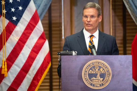 Gov. Bill Lee speaks during a news conference Thursday, March 12, 2020, in the Old Supreme Court Chambers at the state Capitol in Nashville.