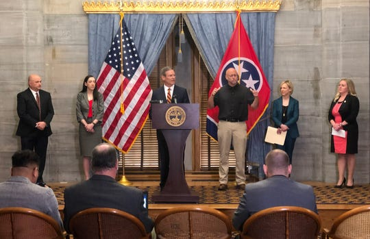 Gov. Bill Lee speaks to the media during a press conference Thursday, March 12, 2020, in the Old Supreme Court Chambers at the State Capitol in Nashville, Tenn.