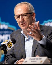SEC Commissioner Greg Sankey speaks during a press conference after it was announced that the Southeastern Conference Tournament was canceled due to Coronavirus concerns at Bridgestone Arena in Nashville, Tenn., Thursday, March 12, 2020.
