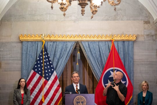 Gov. Bill Lee speaks to the media during a news conference Thursday, March 12, 2020, in the Old Supreme Court Chambers at the state Capitol.