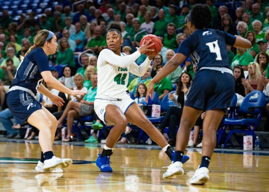 FGCU's Tytionia Adderly looks to pass during the ASUN semifinal game against North Florida at Alico Arena on Thursday.