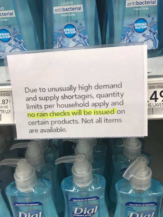 A sign at the Publix in Bonita Springs, near the intersection of U.S. 41 and Bonita Beach Road, informs shoppers of restrictions on hand soap purchases on March 12, 2020.
