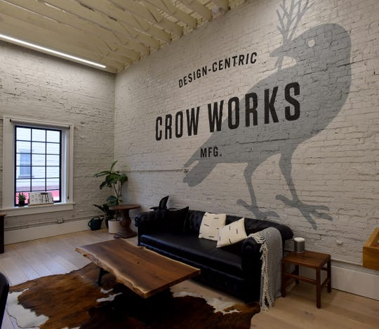 Crow Works, a manufacturing brand for custom furniture, moved its corporate offices from Columbus to the renovated building in downtown Johnstown last year. The owners are Dennis and Denise Blankemeyer, high school sweethearts who started the business in Grandview Heights in 1995.