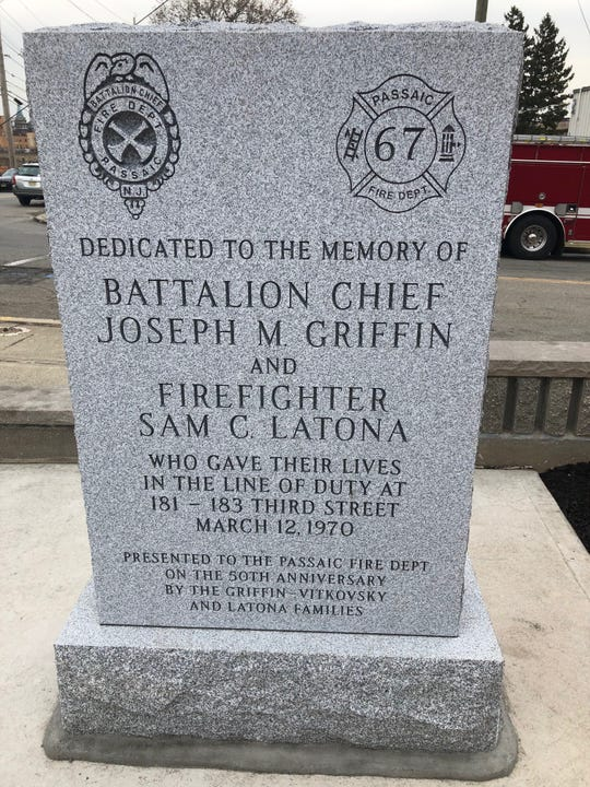 This monument donated by the families of fallen firefighters Sam Latona and Joseph Griffin replaces an earlier one that had become quite weathered. it was formally dedicated on Thursday, March 12, 2020 50 years after the fire that killed both of them.