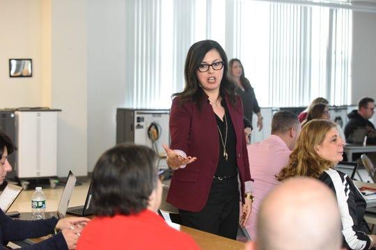 Deborah Rigoglioso, Technology Integration Supervisor, Garfield School District, conducting the teacher technology training to prepare teachers to give remote lessons in case of Coronavirus shutdown.