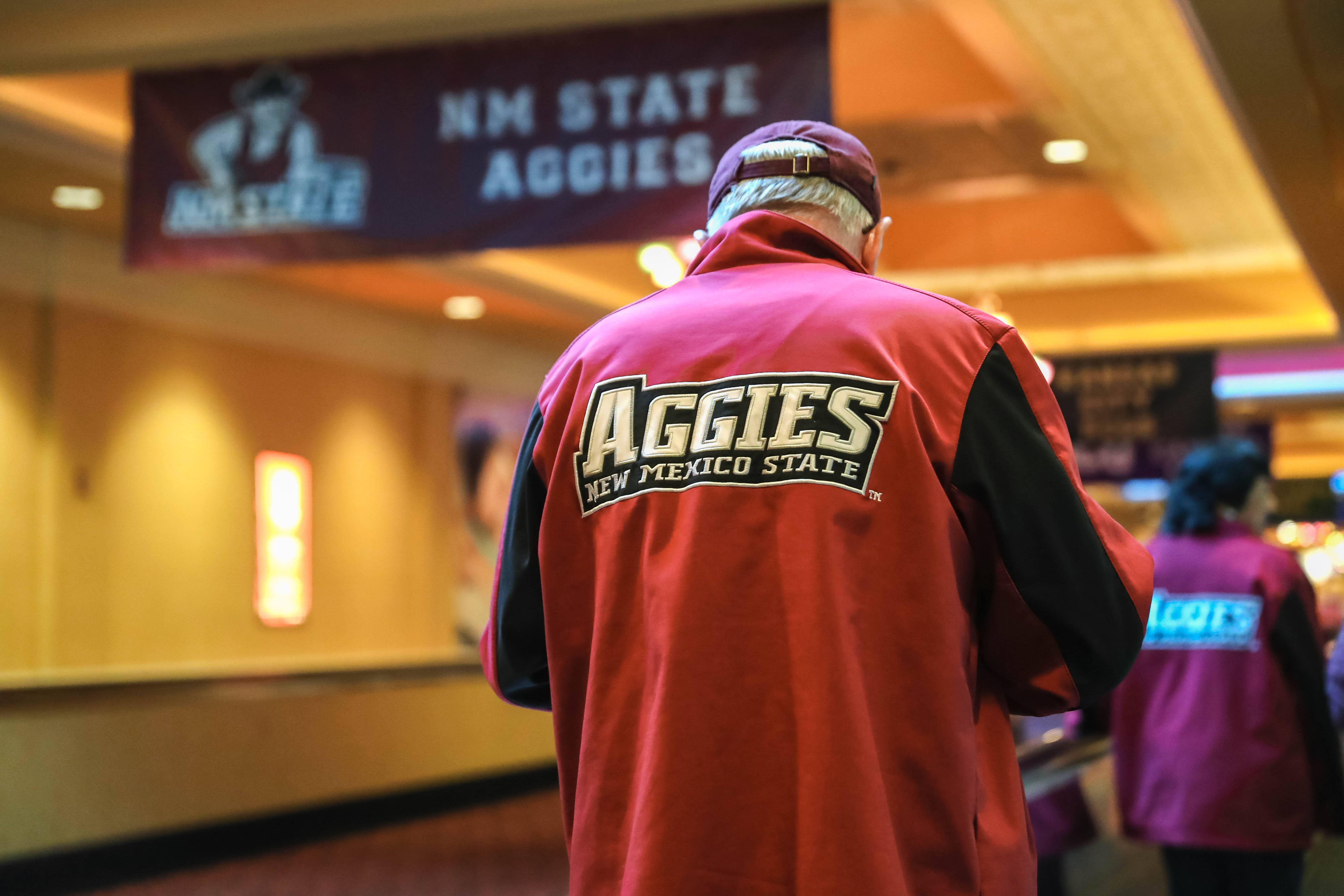 Paul Bardwell of Las Cruces makes plans to return home after the WAC announced that the rest of the conference tournament has been cancelled due to coronavirus concerns in Las Vegas, Nevada on Thursday, March 12, 2020.