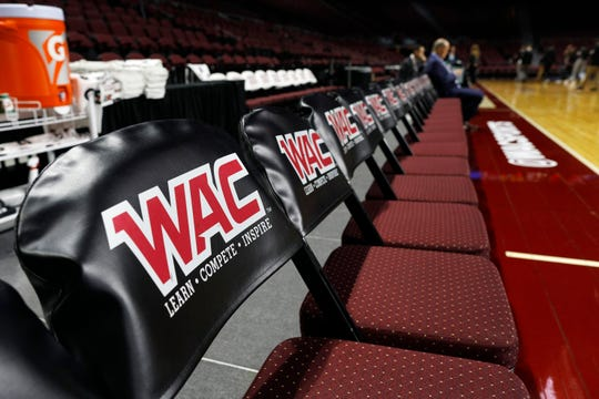 LAS VEGAS, NEVADA - MARCH 16:  The Western Athletic Conference logo is shown on the court before the championship game of the Western Athletic Conference basketball tournament between the Grand Canyon Lopes and the New Mexico State Aggies at the Orleans Arena on March 16, 2019 in Las Vegas, Nevada.  (Photo by Joe Buglewicz/Getty Images)