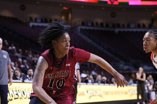 Adrianna Henderson attacks the rim during New Mexico State's 73-61 win over UTRGV on Thursday in the quarterfinals of the WAC tournament in Las Vegas, Nevada.