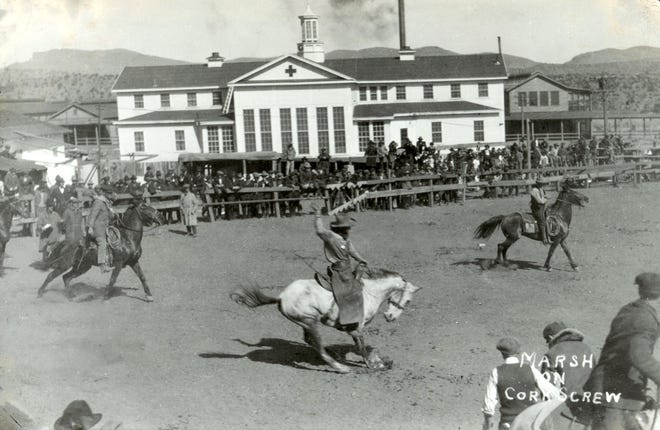 Don Turner's talk on the evolution of rodeo ties in with the Silver City Museum's exhibit Ranching in Grant County. This photo is in the exhibit, circa 1920 at a rodeo at Fort Bayard, right in front of the old hospital.