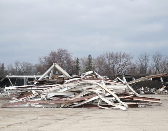 Steel from the tear-down of Garden City's Kmart lies in a large pile at its site along Ford Road.