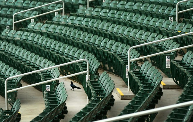 Empty seats after the Arizona Diamondbacks announced that Major League Baseball is delaying the start of the 2020 regular season by at least two weeks and the remainder of their Cactus League spring training games are cancelled due to the COVID-19 virus health emergency during a press conference on Mar. 12, 2020 at Salt River Fields at Talking Stick in Scottsdale, Ariz.