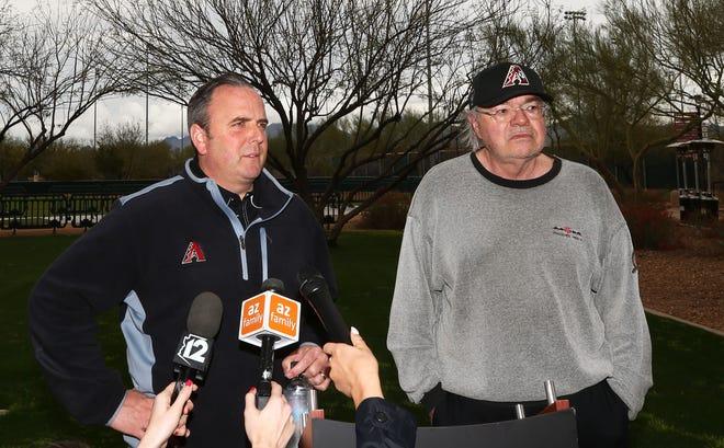 The Diamondbacks' top two executives, president and CEO Derrick Hall (left) and managing general partner Ken Kendrick.