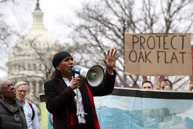 Former San Carlos Apache Tribe chairman Wendsler Nosie Sr. speaks at the Save Oak Flat Rally on the southeast lawn of the U.S. Capitol on March 11, 2020.