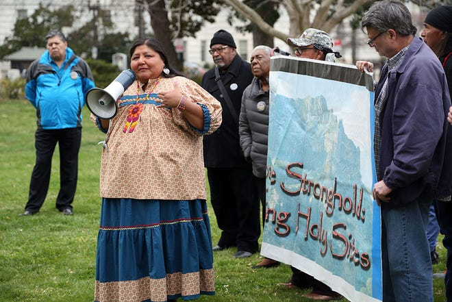 Vernelda Grant, tribal historic preservation officer of the San Carlos Apache Tribe, speaks at the Save Oak Flat Rally on the southeast lawn of the U.S. Capitol on March 11, 2020.