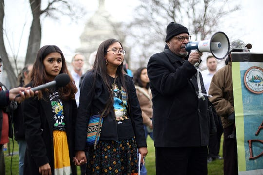 People speak at the Save Oak Flat Rally on the southeast lawn of the U.S. Capitol on March 11, 2020.