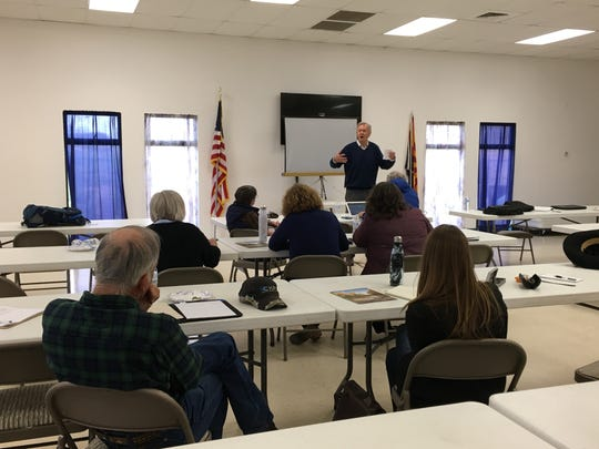 Former Arizona Gov. Bruce Babbitt speaks at a community water meeting in Sunsites on March 11, 2020. He discussed problems of declining groundwater levels in Cochise County and other rural areas.