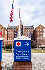 This is a sign for the Lebanon Veterans Affairs Medical Center Emergency Department. Officials have set up screening procedures to keep anyone with symptoms of the coronavirus isolated from other parts of the facility.