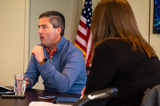 Port Huron City Manager James Freed discusses measurements being taken by the city to prevent the spread of coronavirus during a media briefing Thursday, March 12, 2020, in the Municipal Office Center in Port Huron.